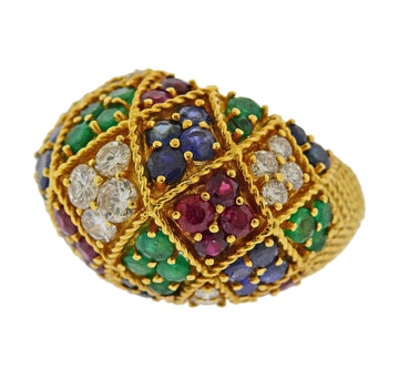 1960s Ruby Emerald Sapphire Diamond Gold Dome Ring