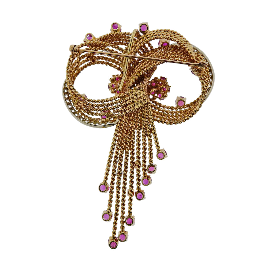 Midcentury Retro Ruby Diamond Gold Brooch Pendant