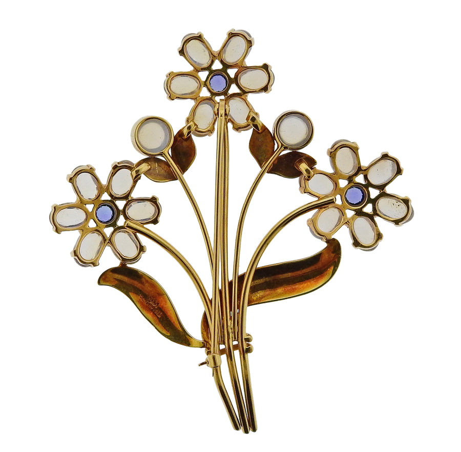 Tiffany & Co Retro Moonstone Sapphire Gold Flower Brooch Pin