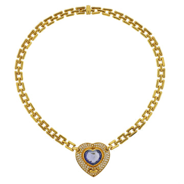 Chimento Blue Sapphire Diamond Gold Heart Necklace