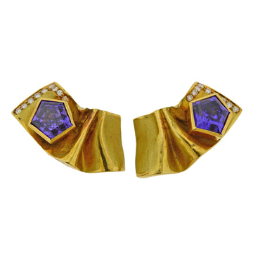 Misani Amethyst Diamond Gold Earrings