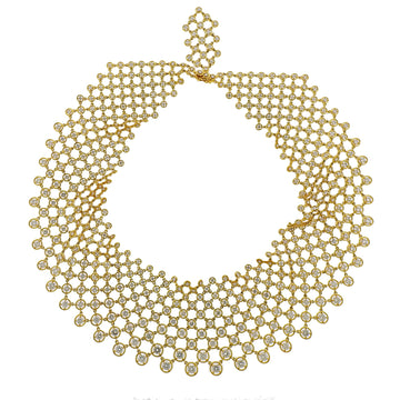 Gold and Diamond Mesh Bib Necklace
