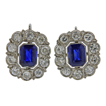 Platinum Diamond Sapphire Cocktail Earrings