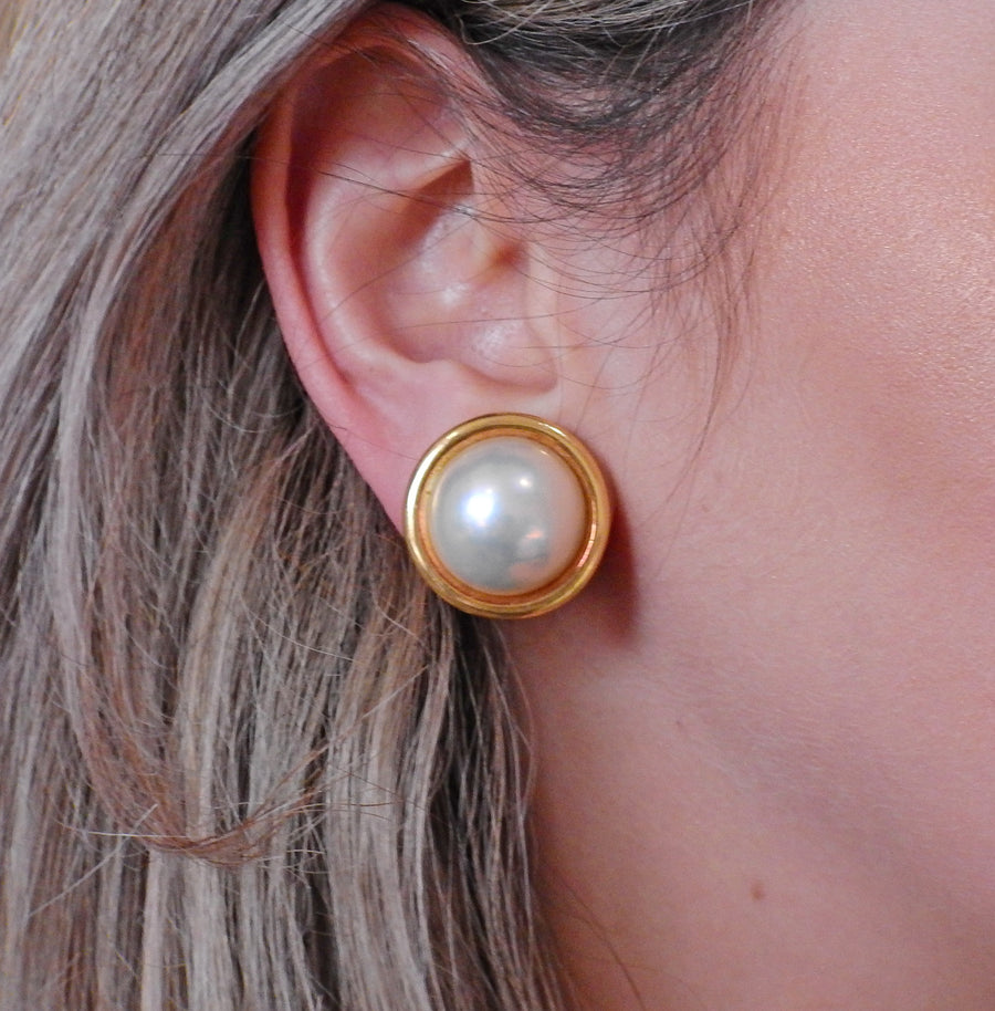 Seaman Schepps Mabe Pearl Gold Earrings