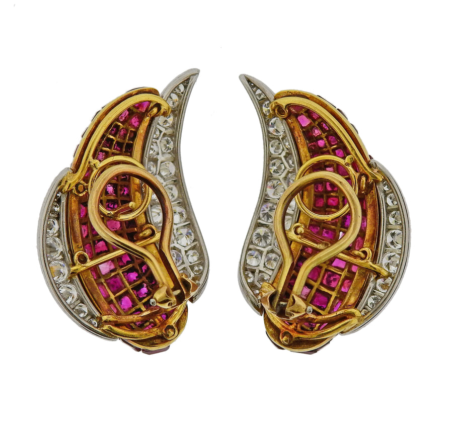 Invisible Set Ruby Diamond Gold Platinum Earrings