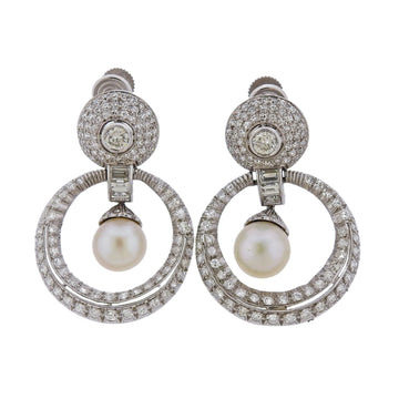 Platinum Pearl Diamond Doorknocker Earrings