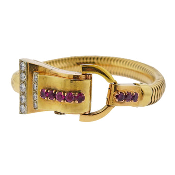 Retro 1940s Ruby Diamond Gold Watch Bracelet