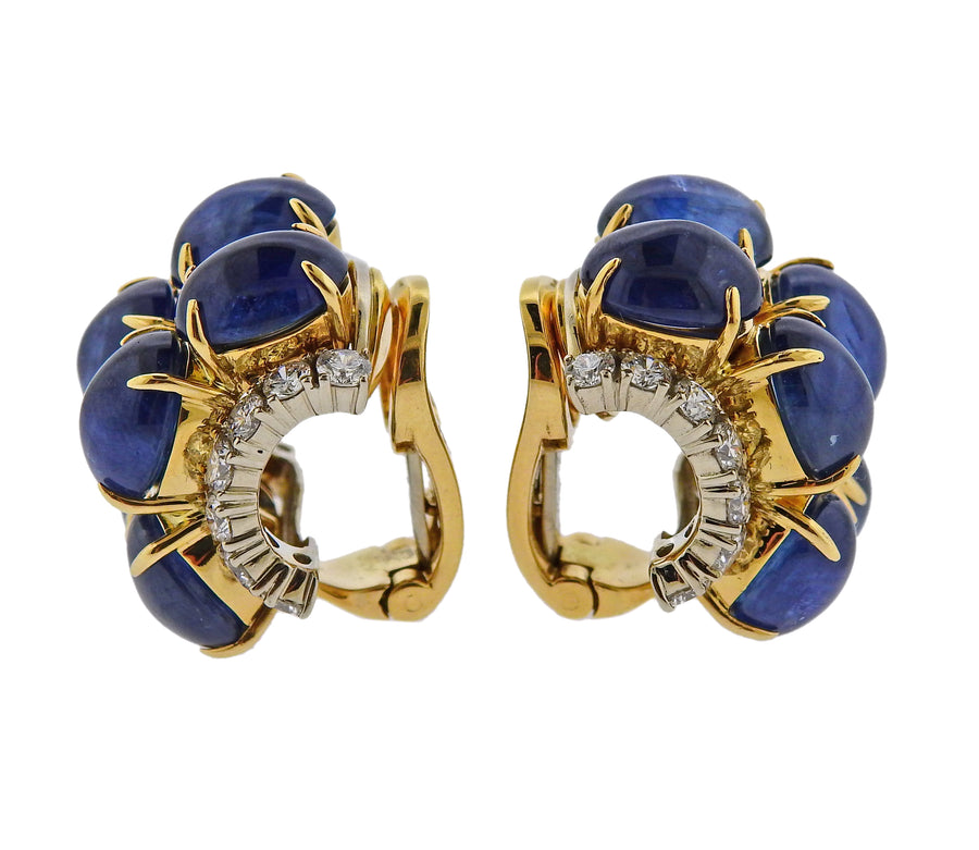 Aletto Brothers 37 Carat Sapphire Cabochon Diamond Gold Earrings
