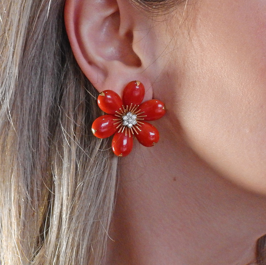 Gold Coral Diamond Flower Earrings