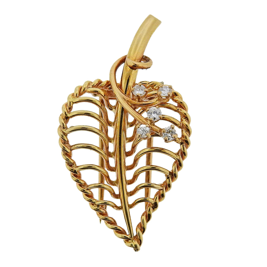 Cartier Diamond Gold Leaf Brooch Pin