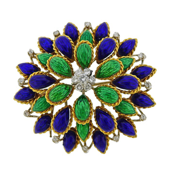 Diamond Enamel Gold Brooch Pib