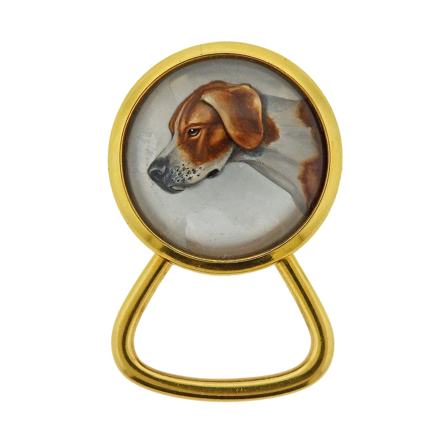 Reverse Painting Crystal Mother of Pearl Gold Dog Key Chain
