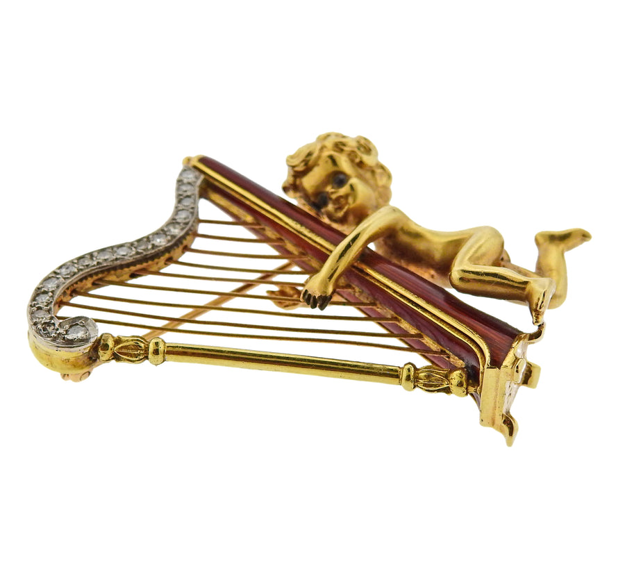 Ruser Retro Diamond Cherub Harp Brooch