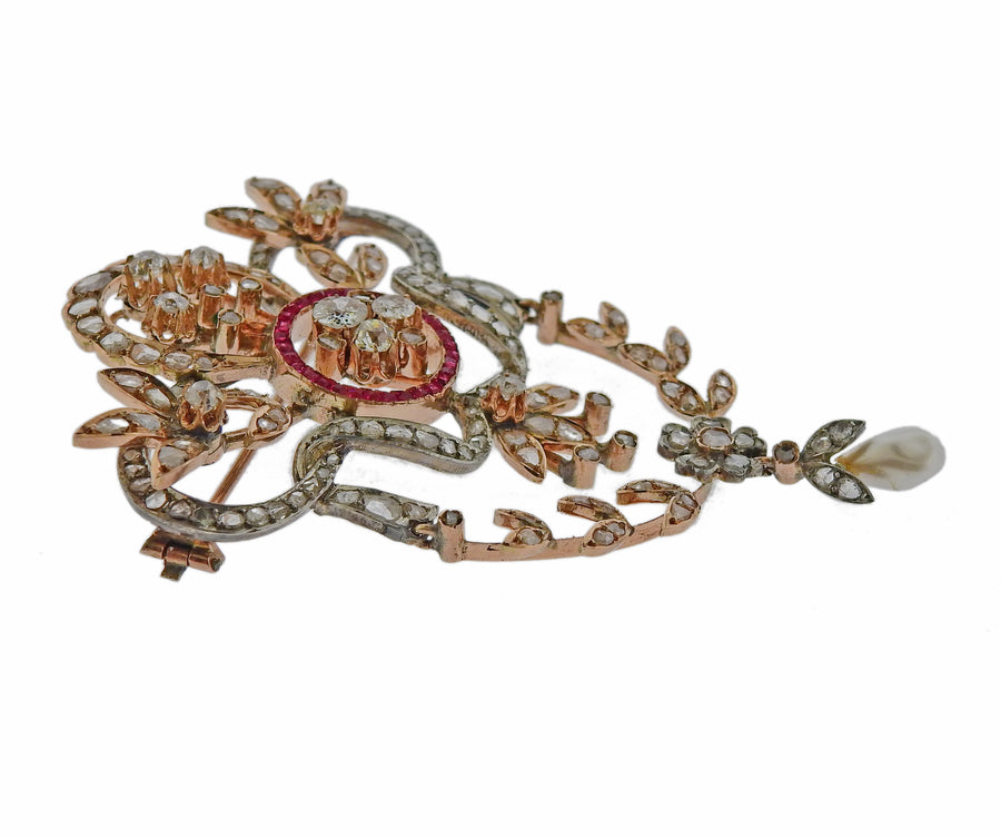 Antique Rose Cut Diamond Ruby Pearl Brooch Pendant