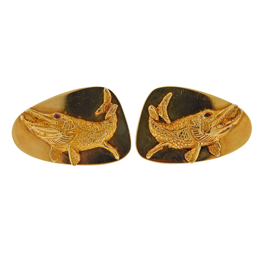 Tiffany & Co Ruby Gold Fish Cufflinks