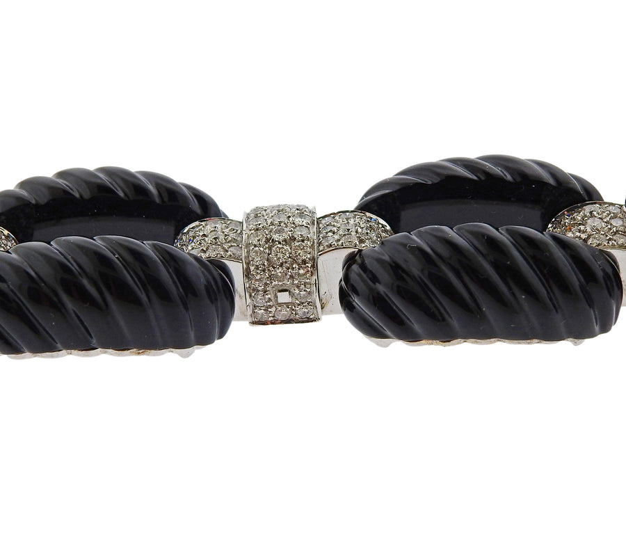 Vettori Carved Onyx Diamond Gold Bracelet