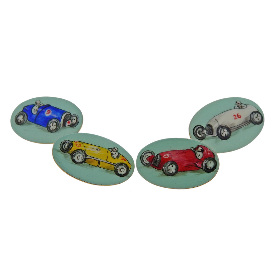 English Enamel Gold Racing Cars Cufflinks