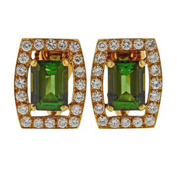 David Webb Green Tourmaline Diamond Gold Earrings