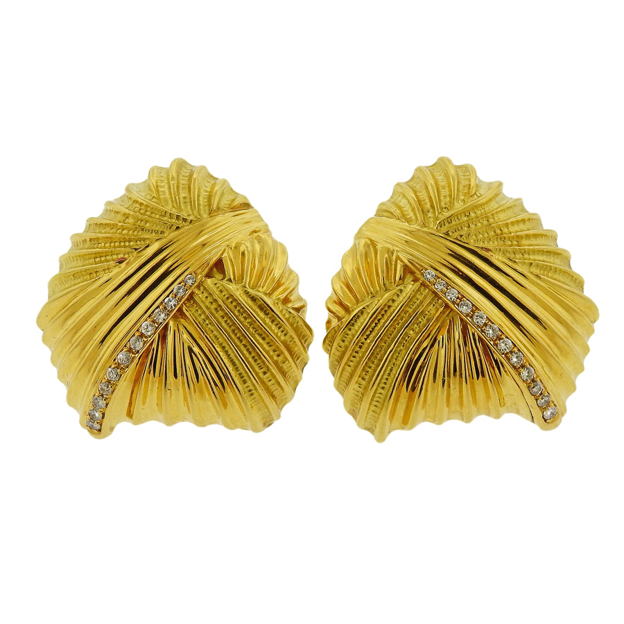 Italian Diamond Gold Large Earrings
