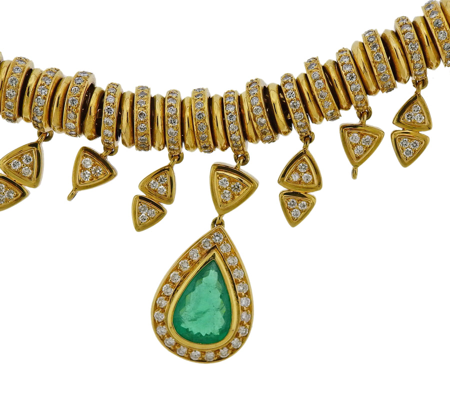 H Stern Emerald Diamond Gold Pendant Necklace