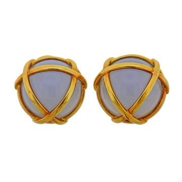 Verdura Cage Chalcedony Gold Earrings