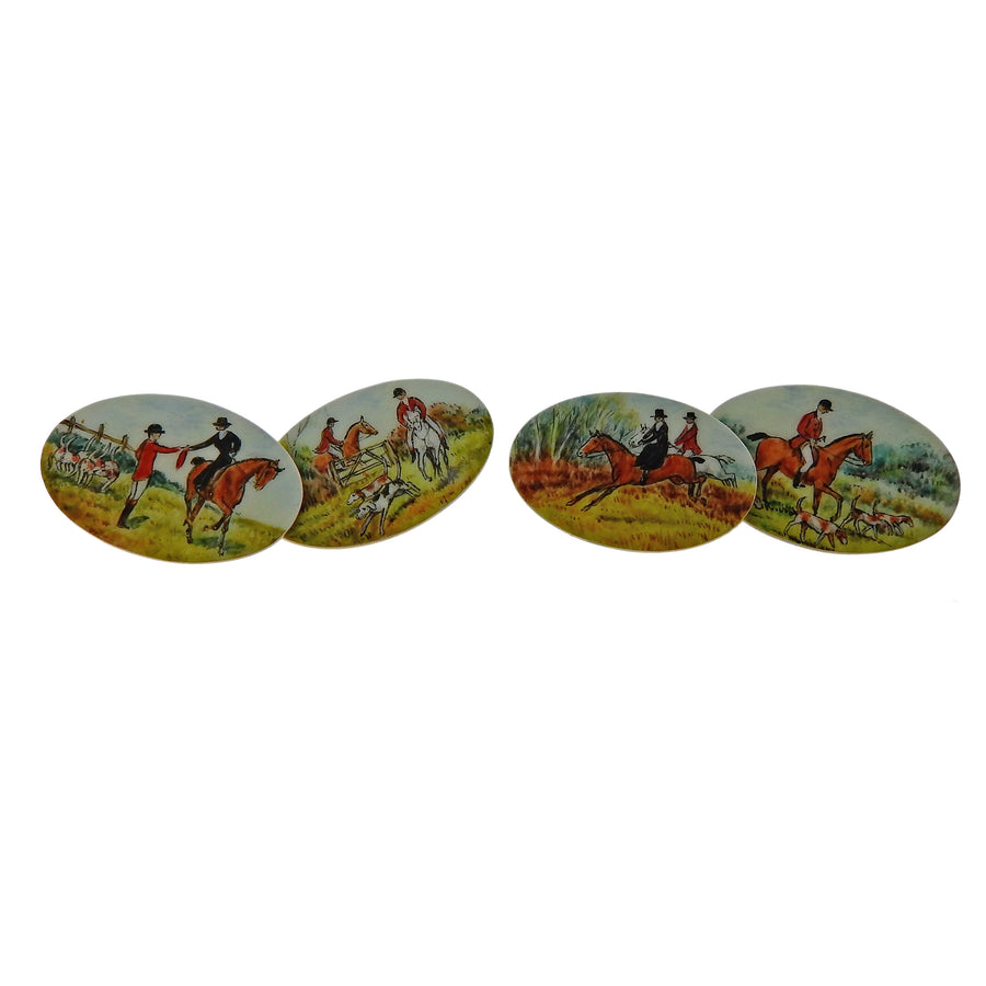 English Enamel Gold Equestrian Cufflinks