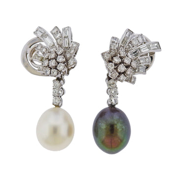 South Sea Pearl Diamond Platinum Night & Day Earrings