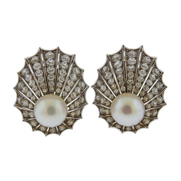 Diamond Pearl Gold Shell Motif Earrings