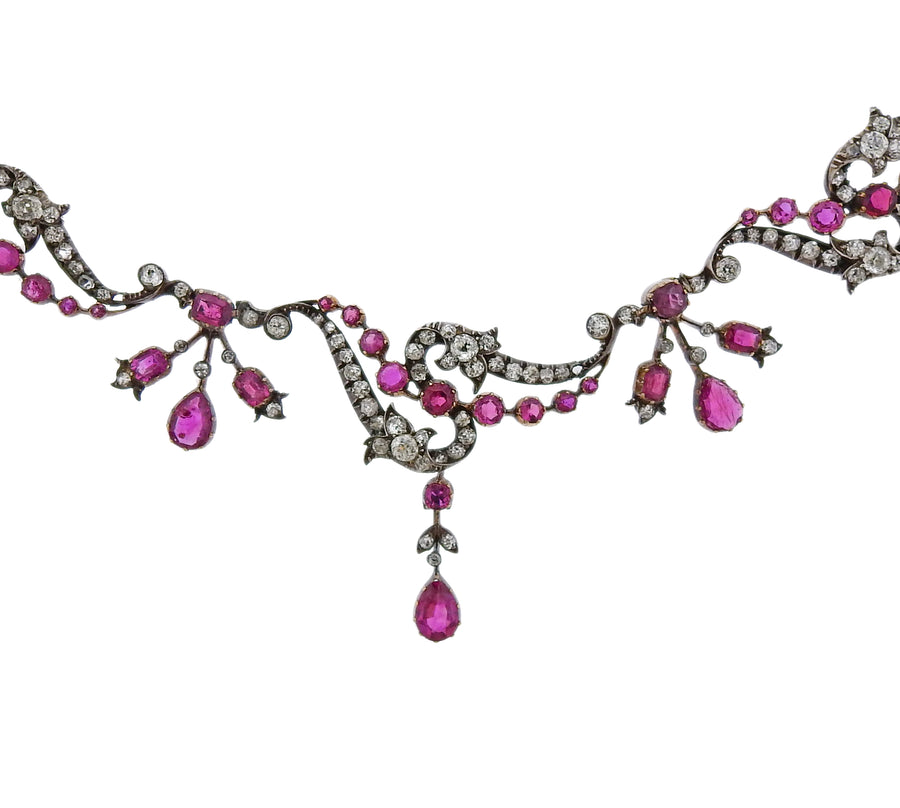 Antique Ruby Diamond Gold Silver Necklace