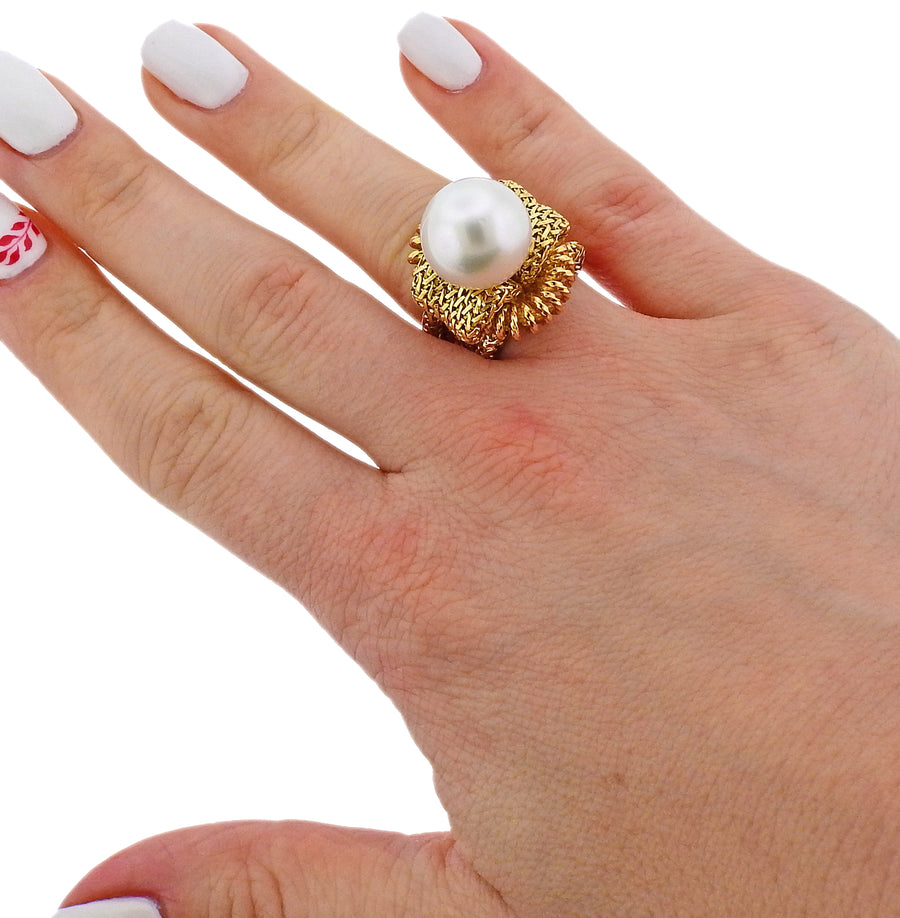 Mid Century France South Sea Pearl Gold Ring