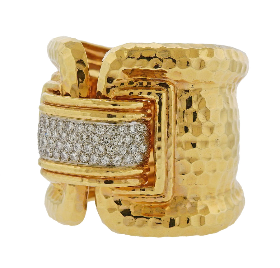 Large Diamond Hammered Gold Cuff Bracelet