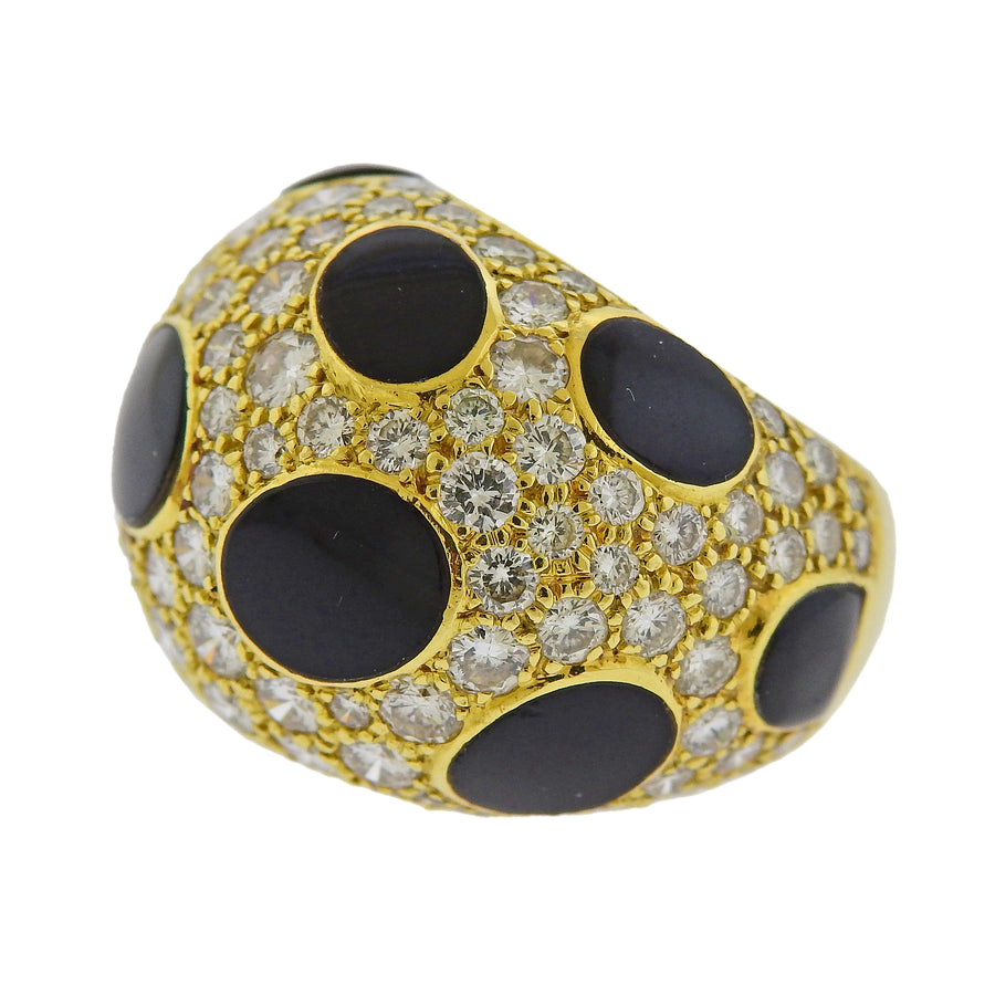 Diamond Enamel Gold Dome Ring