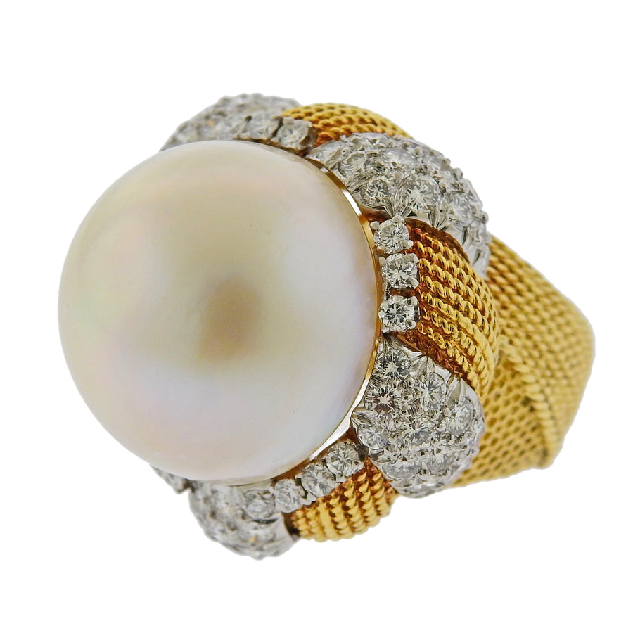 South Sea Pearl Diamond Gold Cocktail Ring