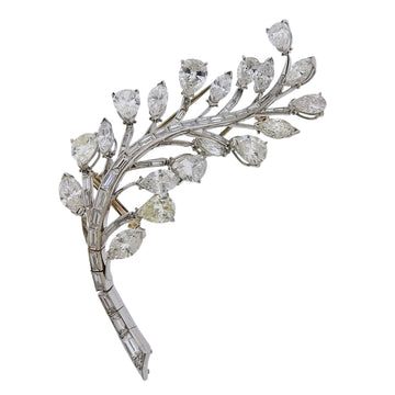 Mid Century 10.50 Carat Diamond Platinum Brooch Pin