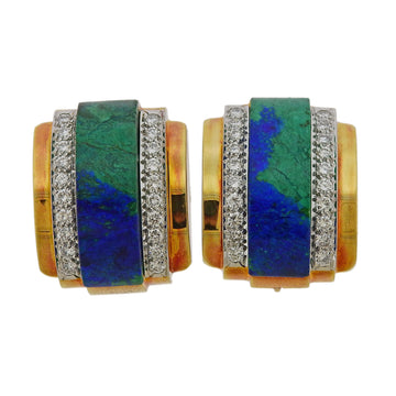 David Webb Azurmalachite Diamond Gold Platinum Earrings