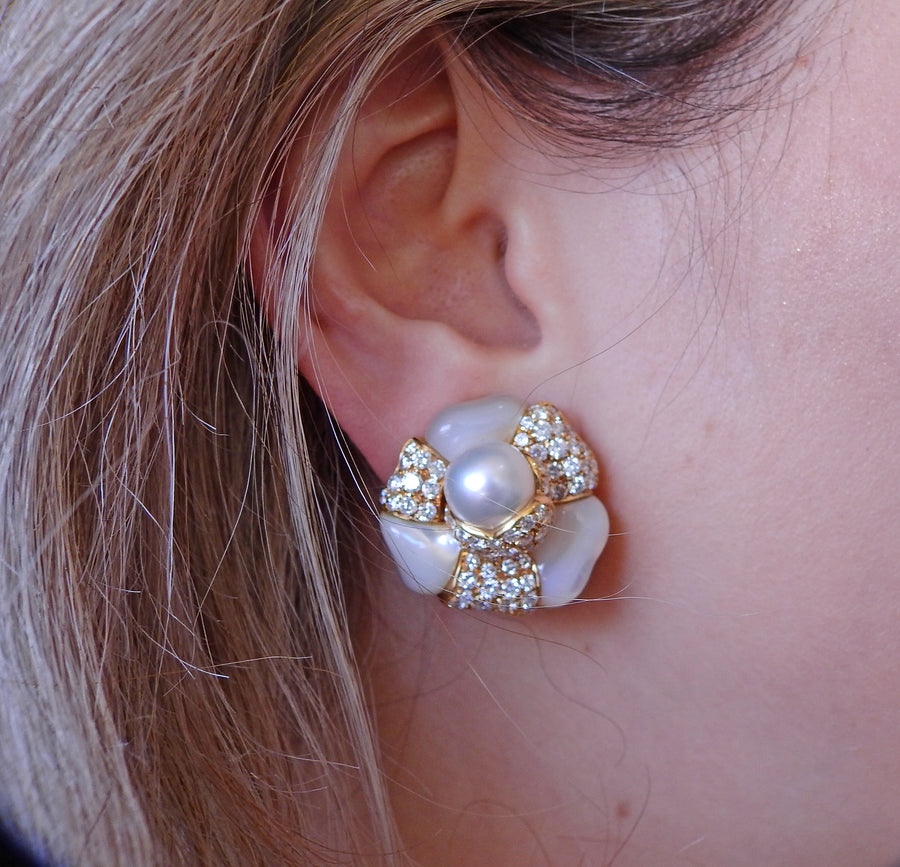Diamond Pearl Mother of Pearl Gold Flower Cocktail Earrings