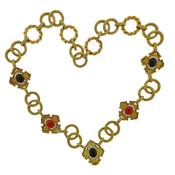 R Stone Coral Onyx Diamond Gold Necklace