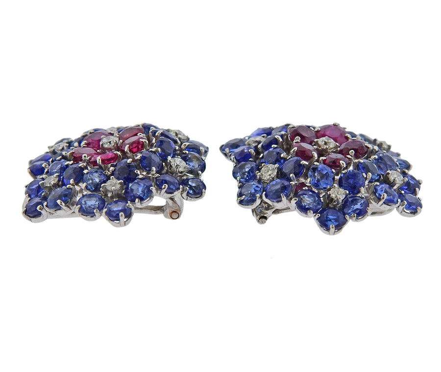 Van Cleef & Arpels Ruby Diamond Sapphire Flower Earrings Clip Set