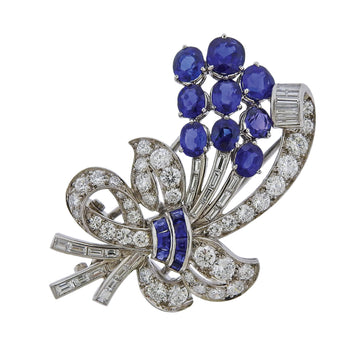 Tiffany & Co Sapphire Diamond Platinum Brooch Pin