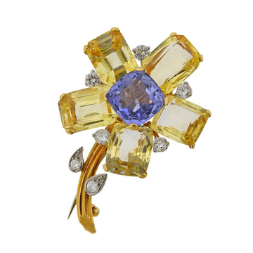 Cartier Mid Century Yellow Blue Sapphire Diamond Flower Brooch