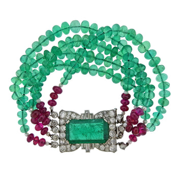 Cartier 10.50 Carat Emerald Ruby Diamond Platinum Bracelet