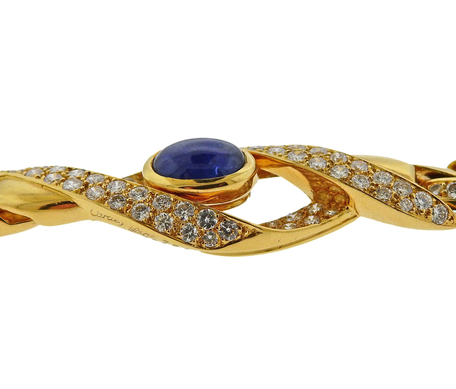Cartier Paris Sapphire Diamond Gold Curb Link Necklace