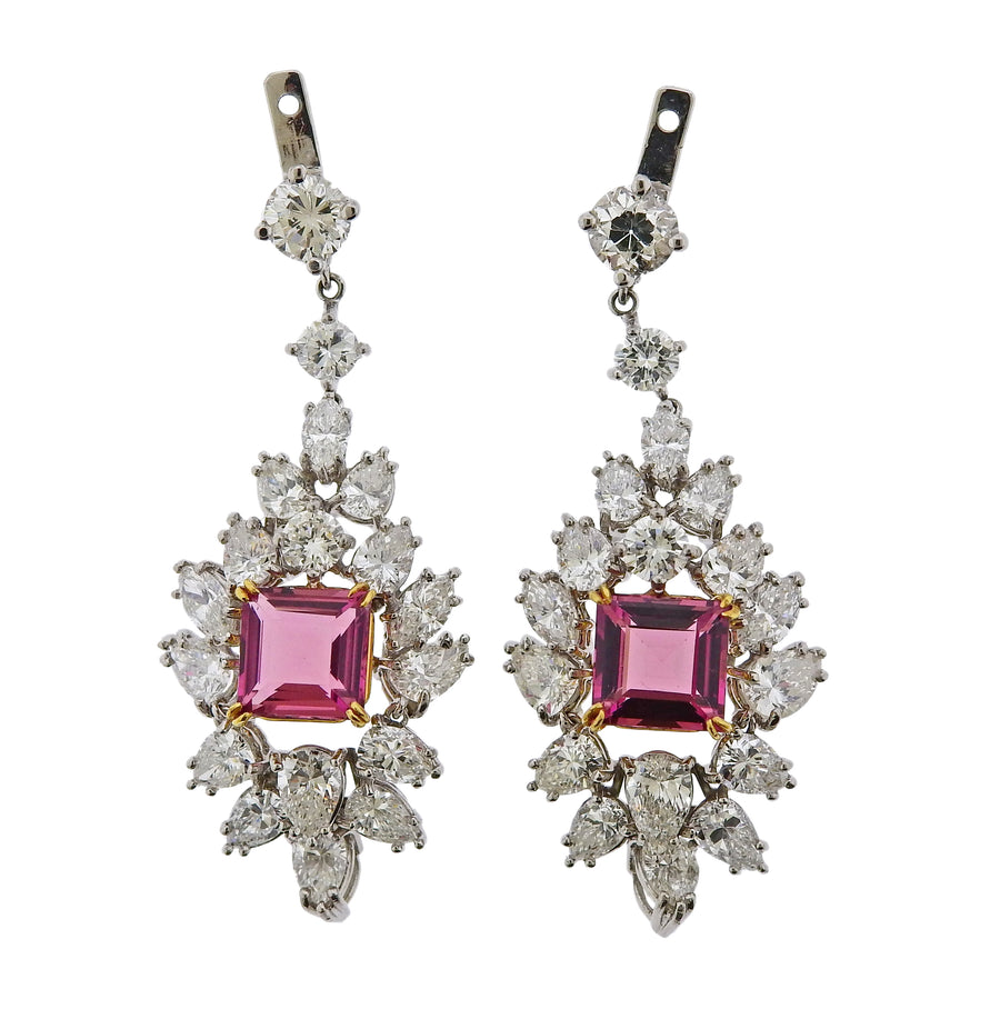 Diamond Platinum Pink Tourmaline Drop Earrings