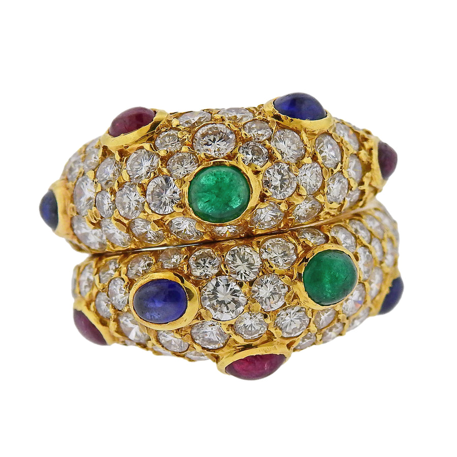 Fred Paris Sapphire Emerald Ruby Diamond Gold Ring