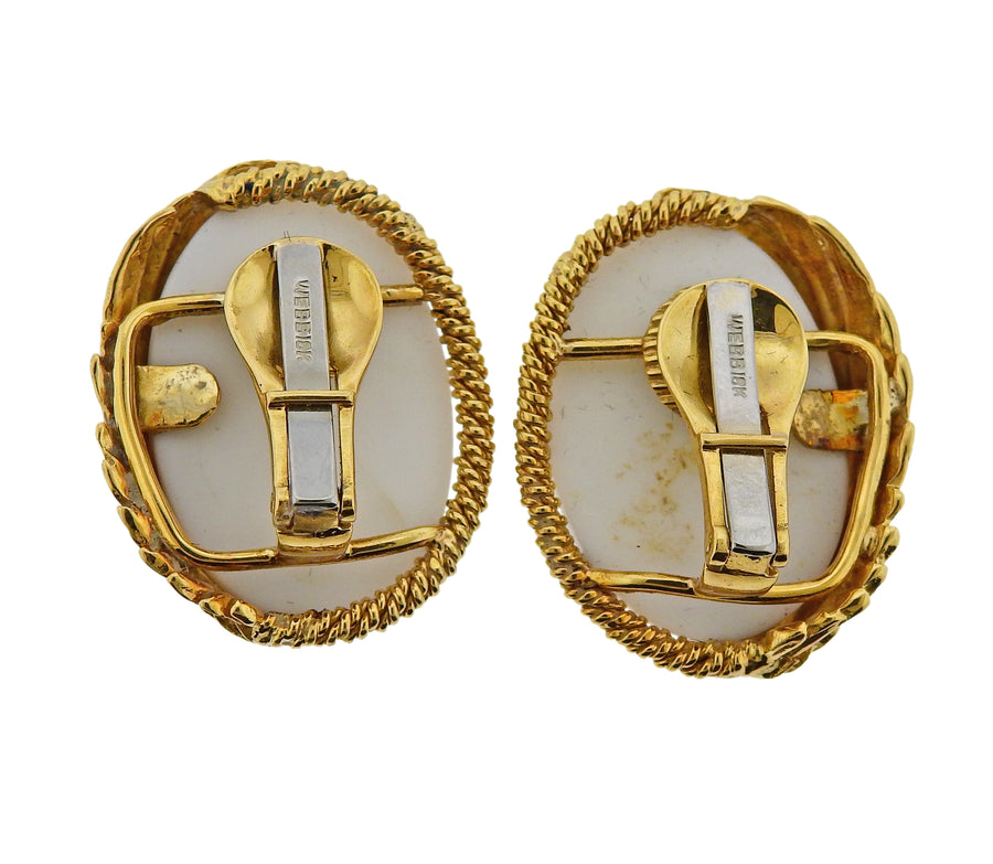 David Webb White Coral Gold Earrings