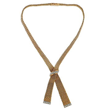 France Mid Century Diamond Gold Necklace