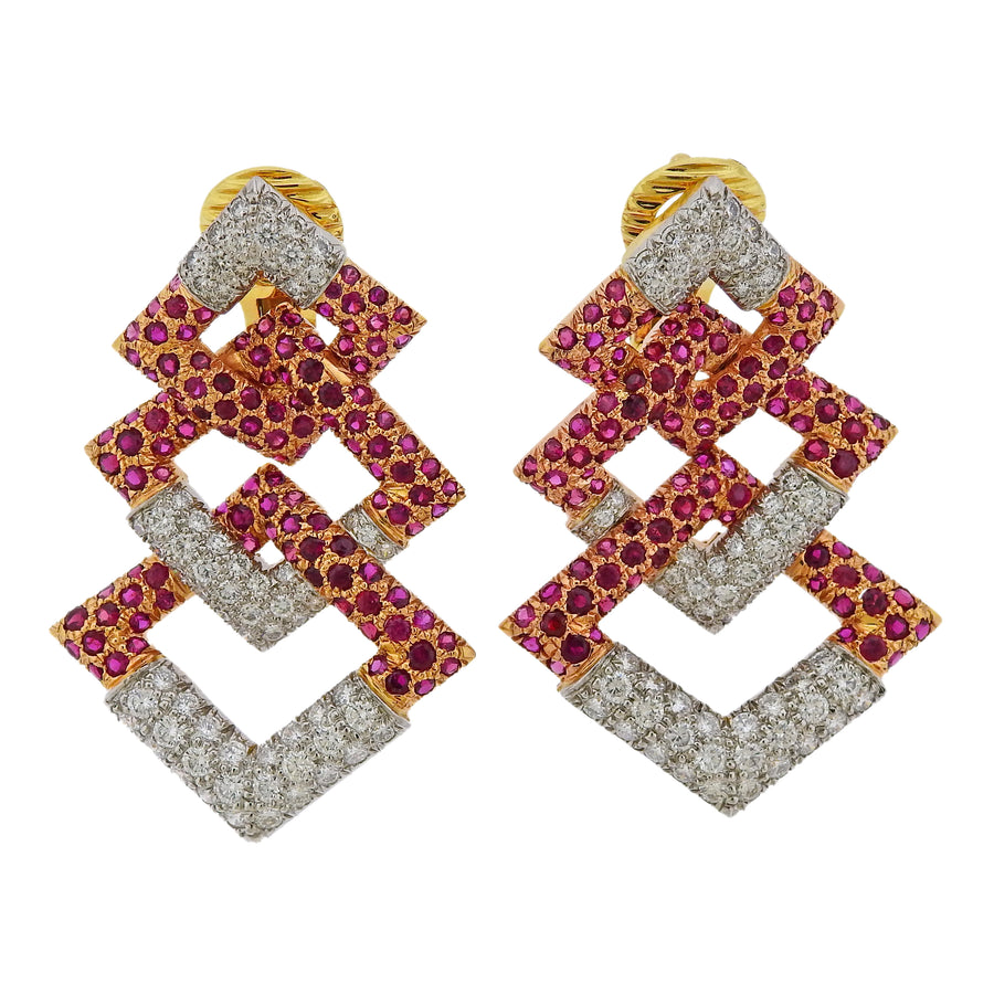 David Webb Diamond Ruby Rose Gold Platinum Earrings