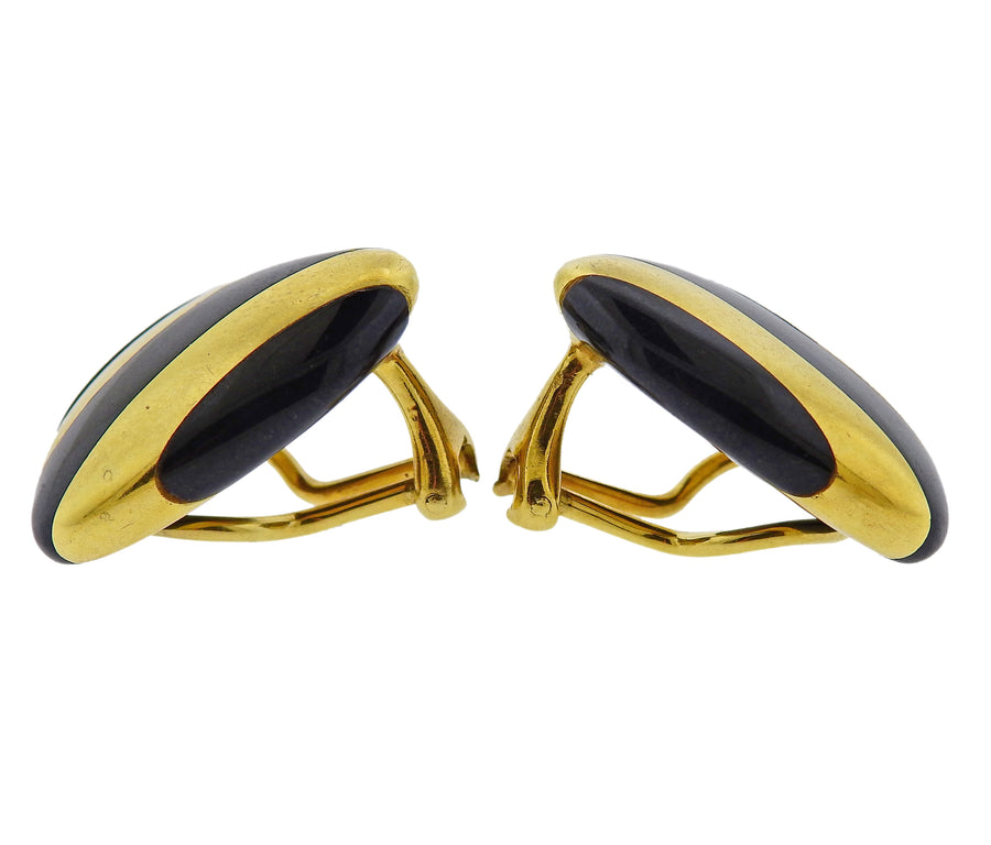 Tiffany & Co Inlay Black Jade Gold Earrings