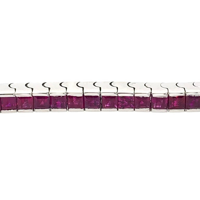 18 Karat Gold 3 Straight Line Emerald, Ruby and Sapphire Square Cut Bracelets