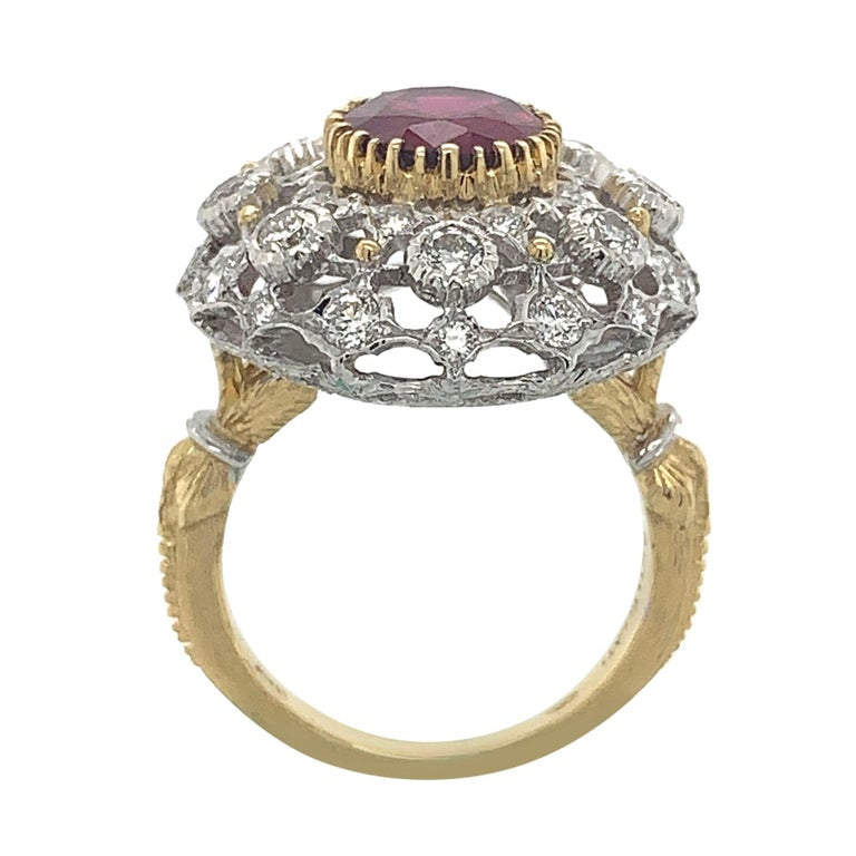 Buccellati 18 Karat Gold Diamond and Tourmaline Ring